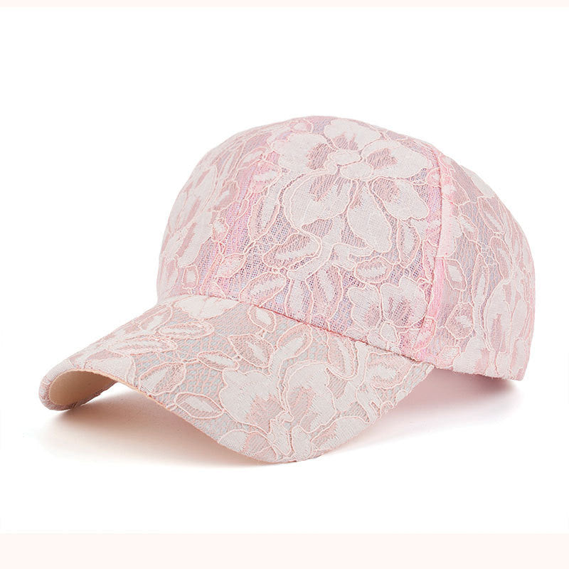Lace Floral Baseball Caps Summer Sun Hat for Women Breathable Mesh Snapback Blue Pink Black White