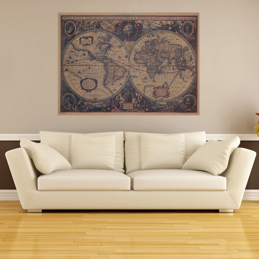 Vintage maps upcube large vintage world map wall sticker decal vinyl retro paper map poster national geographic map of gumiabroncs Image collections