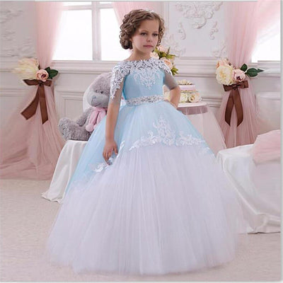 Light Blue Flower Girls Dresses Ball Gown Pageant Dresses For Girls Glitz  Lace Appliques Bow Sash 84b27098b695