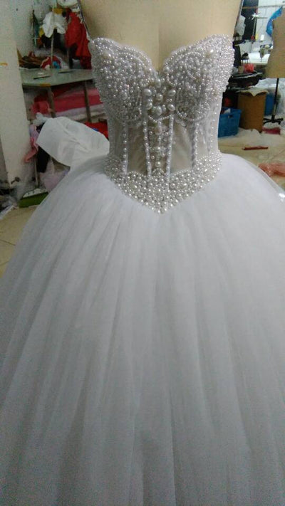 6c0646341fea Luxurious Bling Strapless Wedding dresses Corset Bodice Sheer Bridal Ball  Crystal Pearl Beads Rhinestones Tulle Wedding