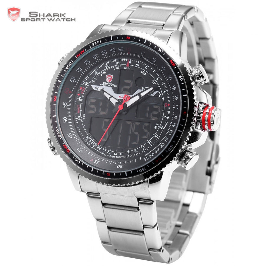 Luxury Winghead SHARK Sport Watch Men Black Dual Time Date Alarm Steel Band Relogio Masculino LCD Quartz Digital Watches /SH325