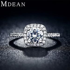 MDEAN Wedding rings for women White Gold Color jewelry   rings Engagement square bague AAA zirconia Accessories bijouxMSR035