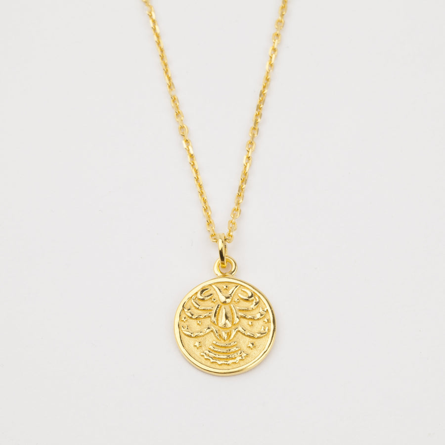 14K Gold Vermeil Cancer Horoscope Pendant Necklace - upcube