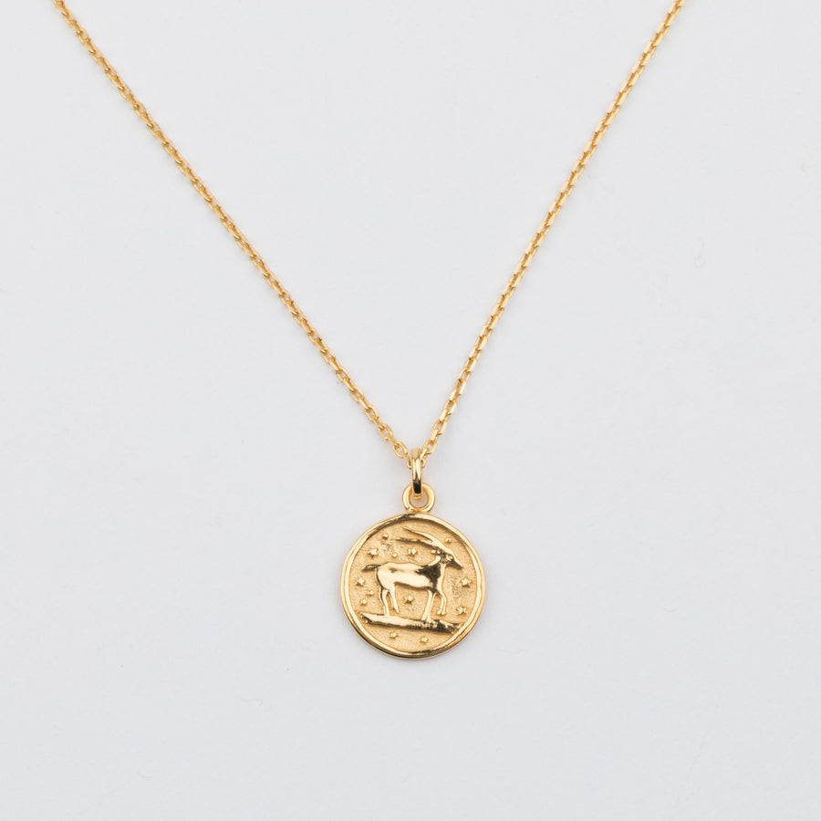 14K Gold Vermeil Aries Horoscope Pendant Necklace - upcube