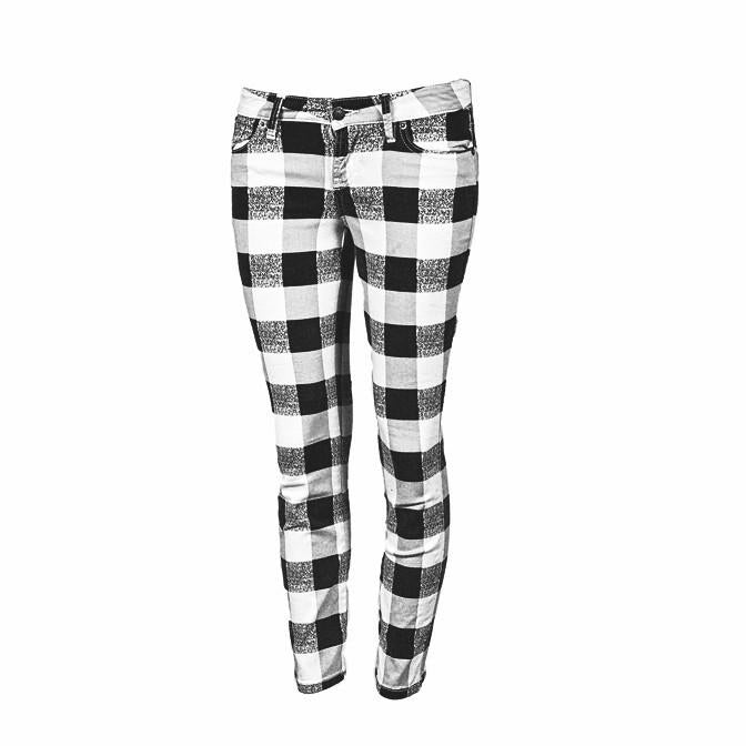 GUESS Crop Mid Checkered Jeans