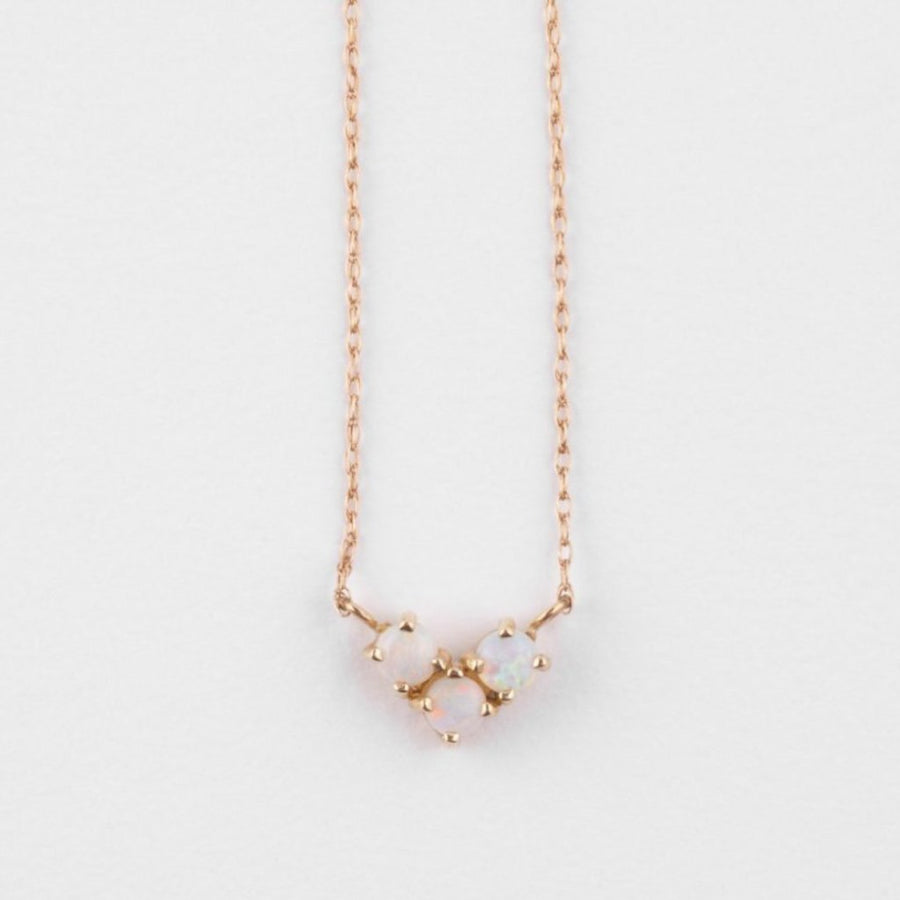 14K Gold Opal Trio Necklace - upcube