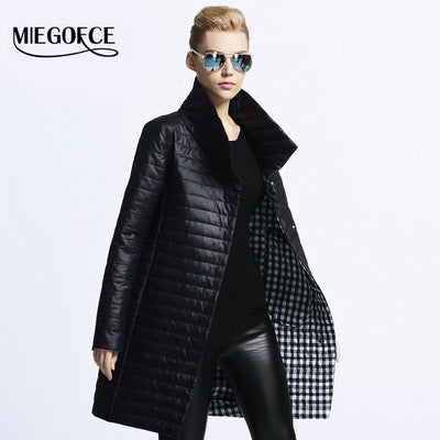 34ab01fc9 MIEGOFCE 2017 New Spring Jacket Parka Women Winter Coat Women's Warm  Outwear Thin Cotton-Padded Long Jackets Coats High Quality