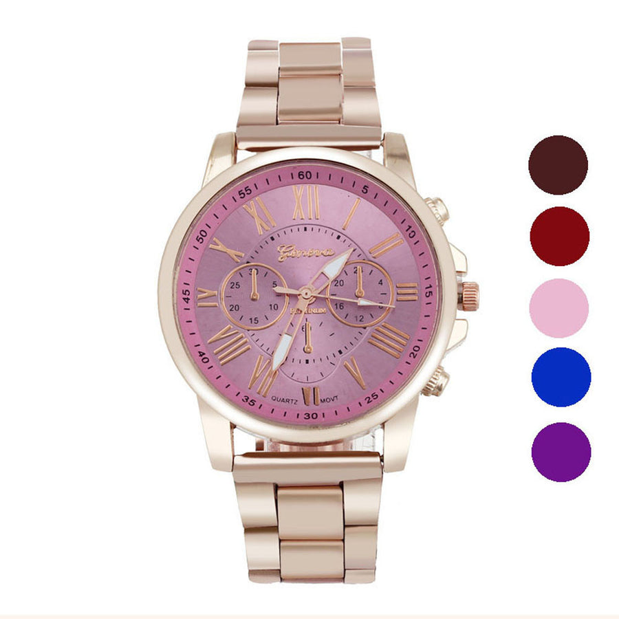 Mance New Colorful Luxury Stylish Fashion women dress Rose Gold Stainless Steel Quartz Sports Dial Wrist Watch Quality gift
