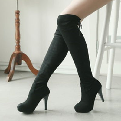 e0552270d01 Meotina Shoes Women Boots Long Autumn Winter Thigh High Boots Lace Up Over  The Knee Boots