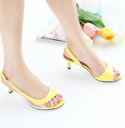 Meotina Shoes Women Sandals Summer Ladies Sandals Transparent Neon Low  Heels Designer shoes High Heels Yellow ab0eb674cf90