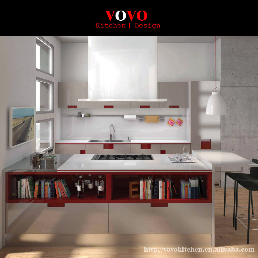 Modern bright color baked paint kitchen cabinets