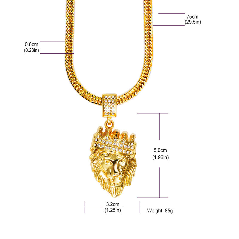 Nyuk mens hip hop jewelry iced out gold fashion bling lion head nyuk mens hip hop jewelry iced out gold fashion bling lion head pendant men necklace aloadofball Image collections