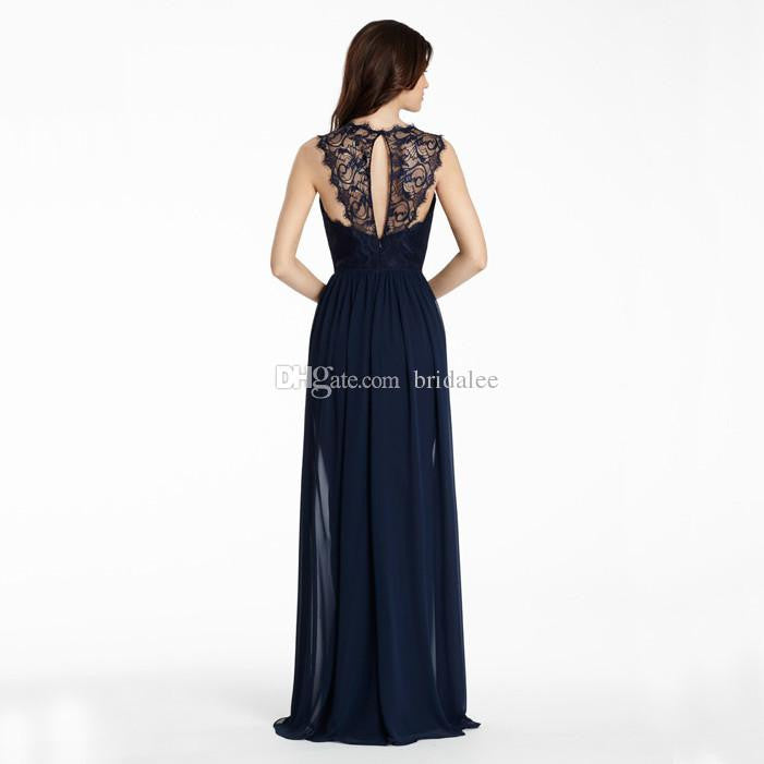 Navy Blue Bridesmaid Dresses 2017 Sheer Neck Lace Hollow Back