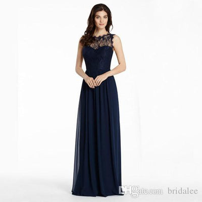 Navy Blue Bridesmaid Dresses 2017 Sheer Neck Lace Hollow Back Chiffon
