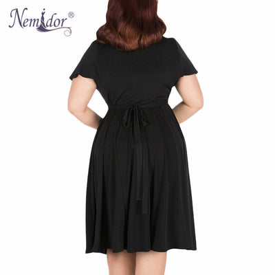Nemidor Women Sexy V-neck Short Sleeve 50s Party A-line Dress Elegant  Stretchy 10114aaf4ad8