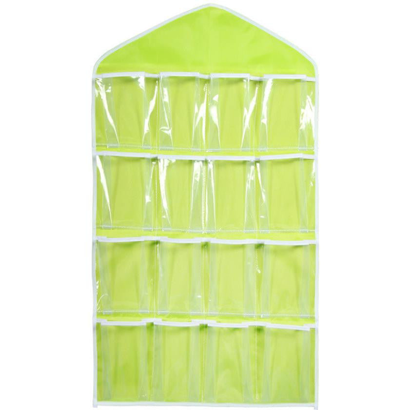 New 16Pockets Clear Hanging Bag Socks Bra Underwear Rack Hanger Storage Wonderful1314