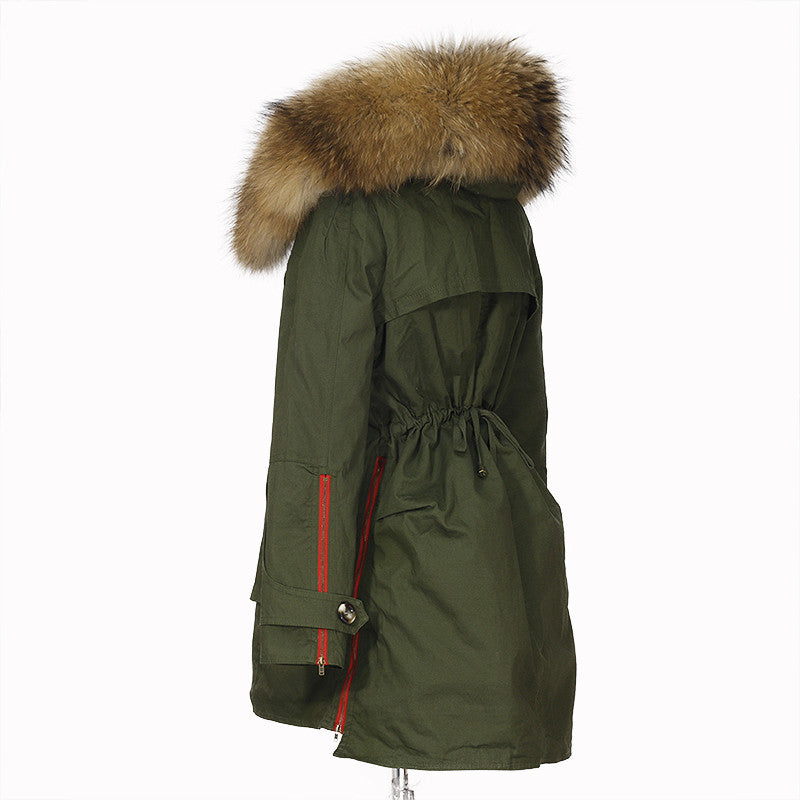 5654111278c49 New 2017 Winter Jacket Women Coats Real Large Raccoon Fur Collar Female  Parka Army Green Thick