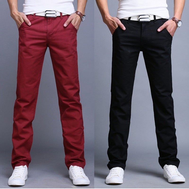 New 2017 high quality Pure cotton thin Men's pure color straight Casual pants Men Slim business Leisure pants trousers