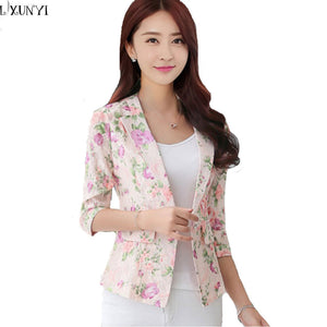 New Arrival 2017 Korean Women Blazers And jackets Three Quarter Fashion Printed Small Suit Elegance Slim  Lace Blazers Summer
