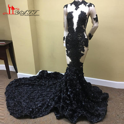 New Black Girl Prom Dresses 2017 Sexy Backless Lace Sequins Handmade F