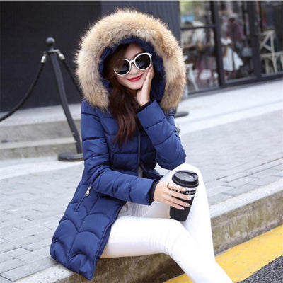 ae1a3e4fbc4 New Coats & Jackets 2017 Female Parka Hooded Winter Jacket Women Real  Raccoon Fur Collar Winter