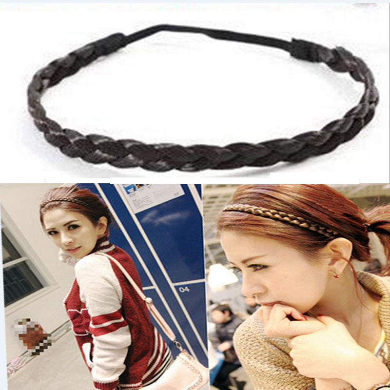 New Hair Accessories Simulation Synthetic Hair Plaited Headband Elastic Hair Band Braided Headwear Hair scrunchy Headband