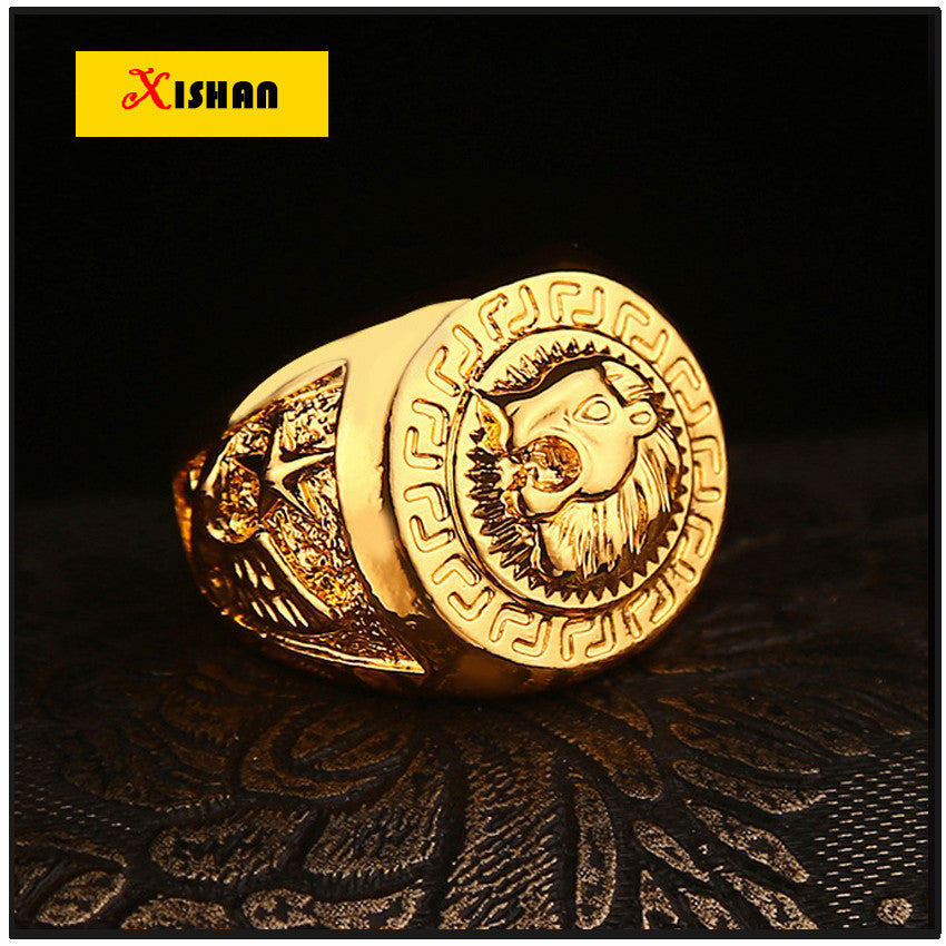 New Lion Anillo Rock Figure Ring Anel Rengas Hip-Hop Gold color Rings for Men or Women Head Hiphop Trendy Ring Jewelry