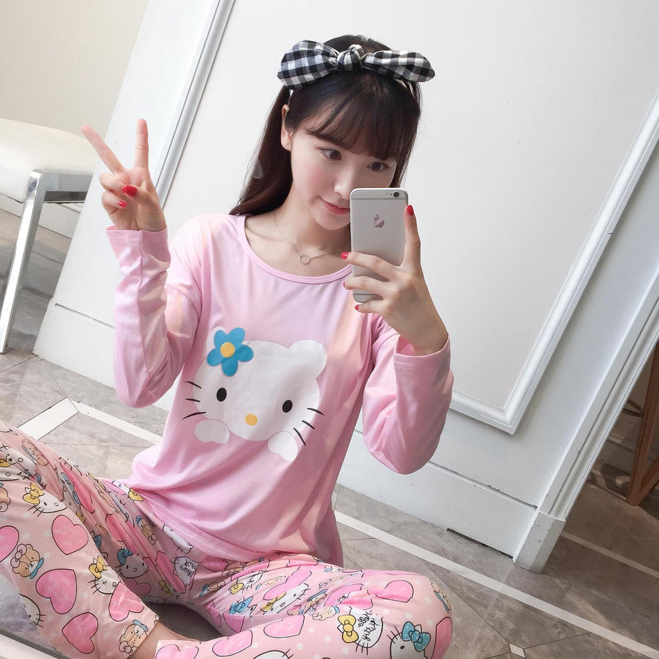 ac9dc1ca98 New Listing WAVMIT2017 Spring Pyjamas Women Carton Cute Pijama Pattern  Pajamas Set Thin Pijamas Mujer Sleepwear
