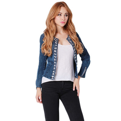 6a6e4bc613c New Spring Lady Jeans Clothing Suits Rhinestone Zipper Punk Female Jackets  Women Coat Slim Washed Denim