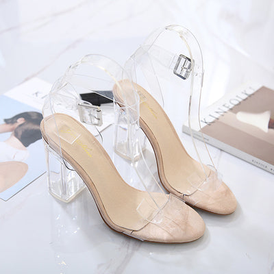 dc0a6e4bcff New Style PVC Summer Sandals Sexy Clear Shoes Transparent Buckle Strap High Heel  Sandals Plus Size