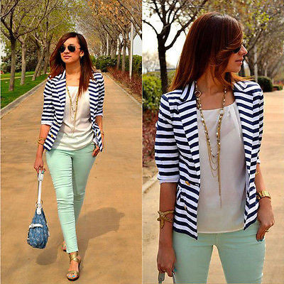 New Women's Fashion Stripe Slim Casual Business Blazer Suit Coat Outwear winter OL clothes