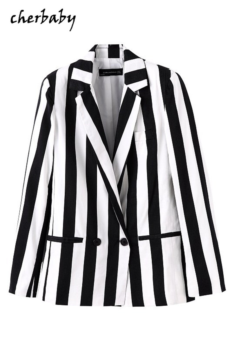 New arrival superior design fashion blazer feminino autumn winter slim blazer white and black striped blazer
