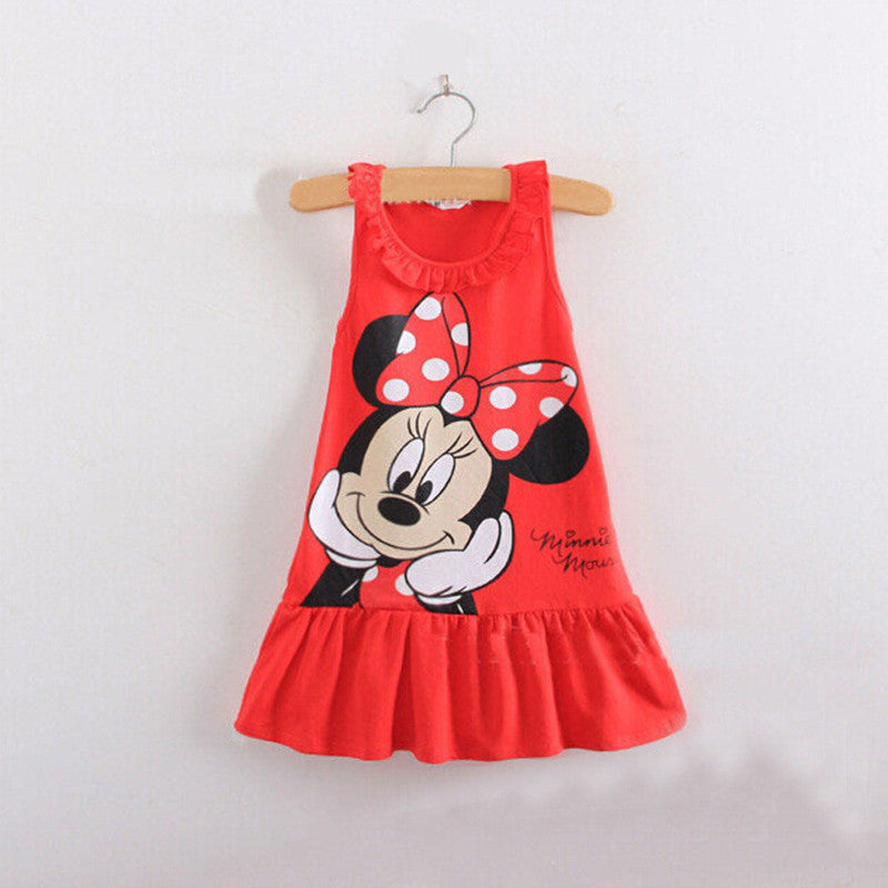 New2016 Baby Girl Summer Dress Girls Minnie Mouse Pink Red Dress Girl's Casual Fashion kids clothing Party Dress