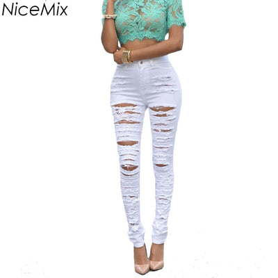 76c495f16a NiceMix 2017 Casual Sexy Ripped Jeans For Women Skinny Pencil Pants Slim  Jeans Woman Denim Jeans