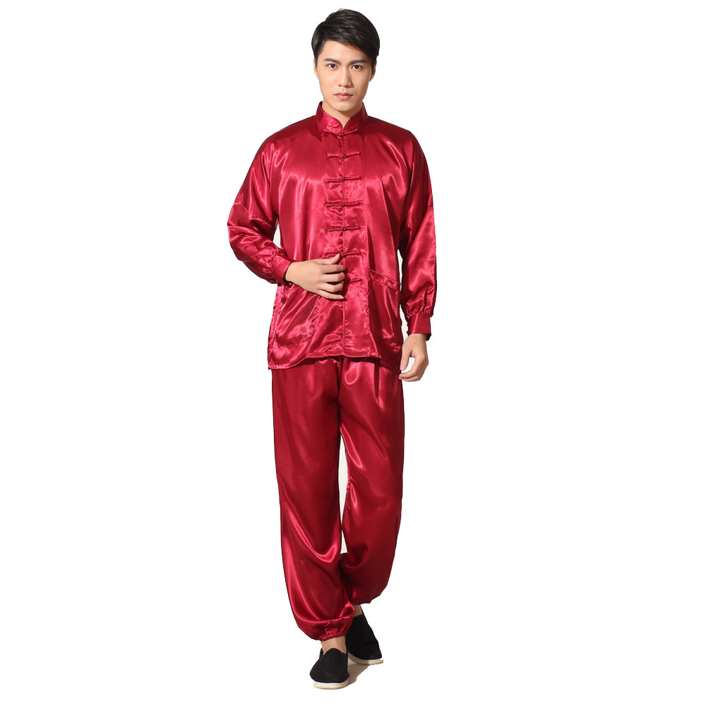 Novelty Gold Men s Satin Pajamas Set Chinese Style Button Pyjamas Suit Soft  Sleepwear Shirt Trousers Nightgown S M L 1fa01398a