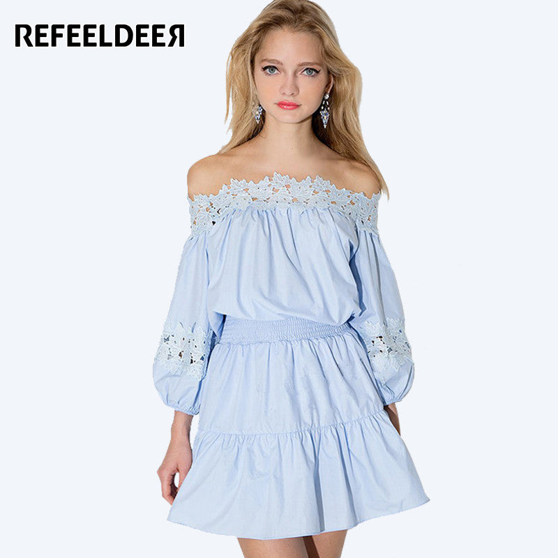c248fd3ce8b Off Shoulder Summer Dress Women 2017 Kawaii Strapless Short Party Lace Dress  Tunic Sundress Sexy Robe