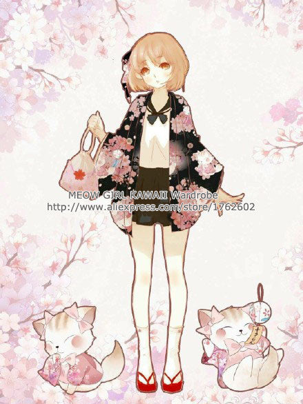 """Onegai Neko"" Praying Cat Women's Japanese Yukata Style Kawaii Cherry Cat Trench Cute Lolita Loose Outwear 4 Colors - upcube"