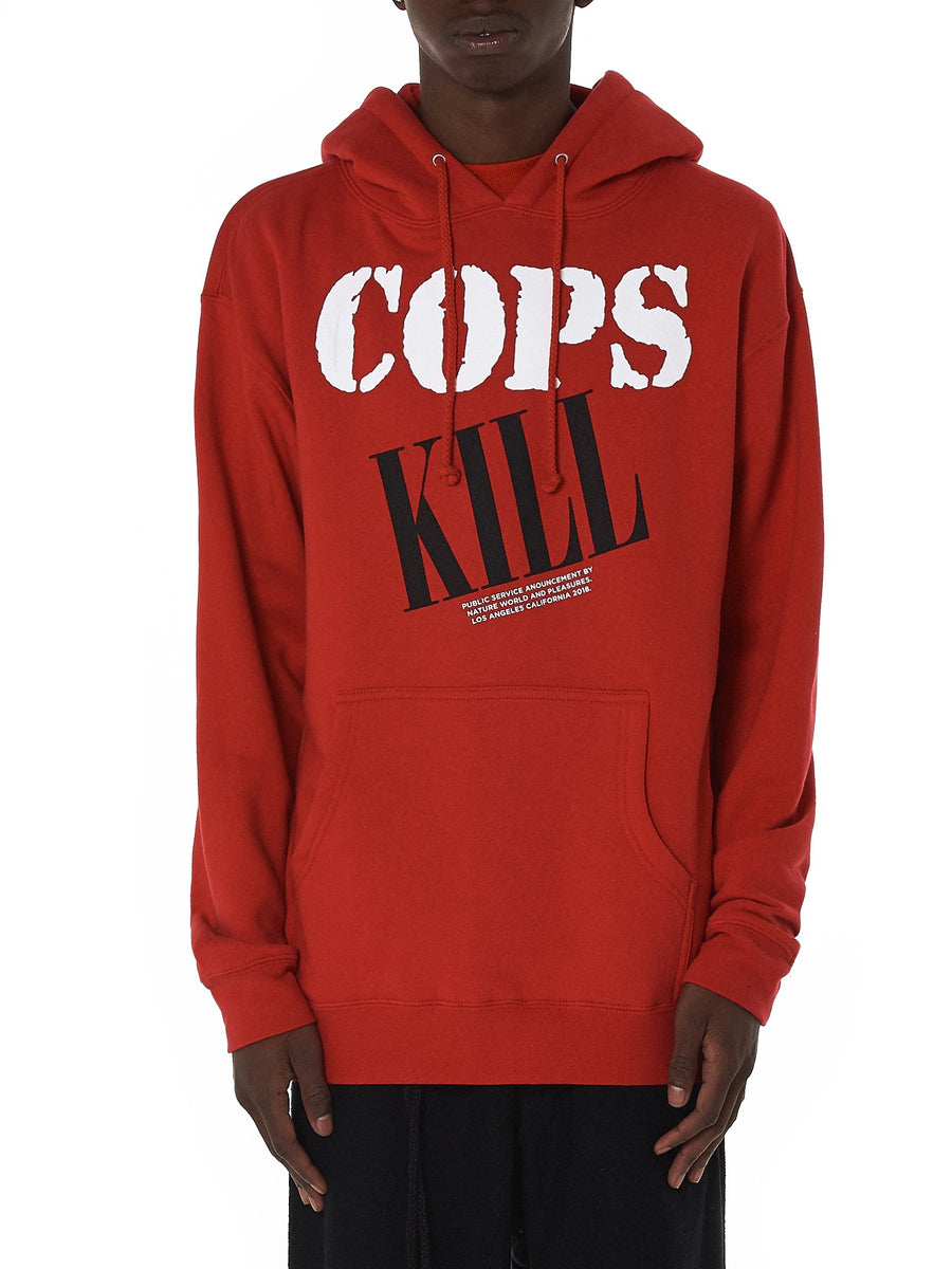 'Cops Kill' Hooded Pullover (P18P102065-RED) - upcube
