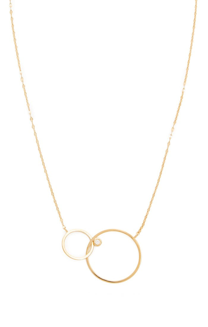 Double Circle necklace with Cz accents