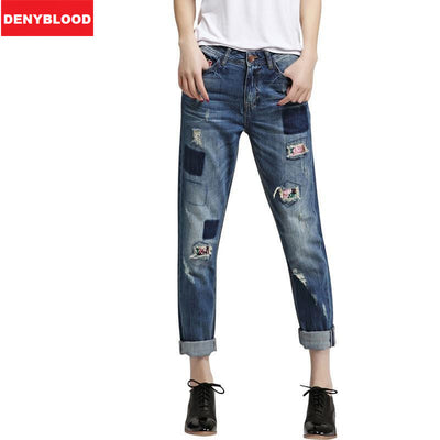 b9ebe96a9fe5 Plus Size 25-34 Boyfriend Jeans For Women Distressed Jeans Ripped Vintage  Washed Denim Casual