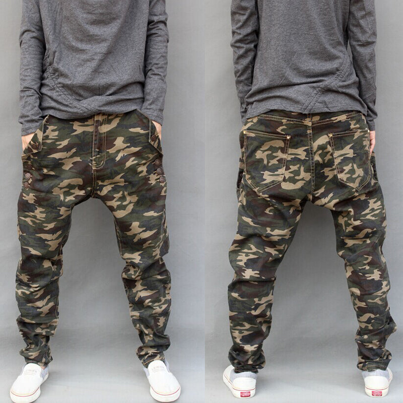 531ee89cb2d5e Plus Size S-7XL Mens Stretch Harem Pants Army Camouflage Hanging Crotch Jogger  Pants Trousers