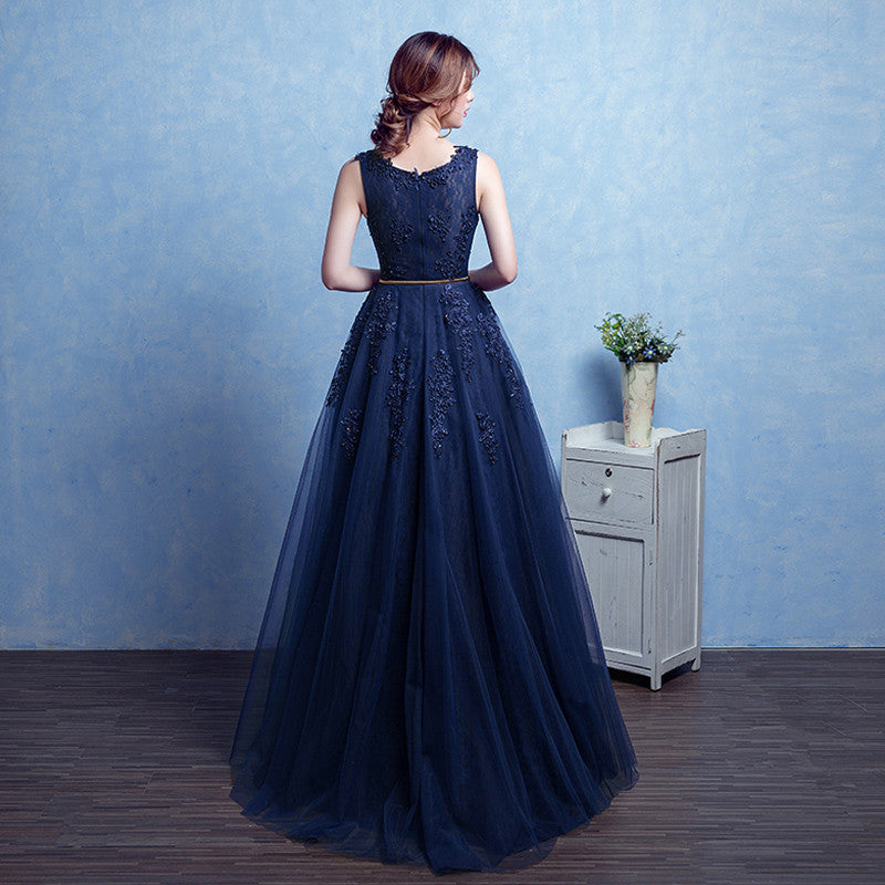 cbc9bfa23b PotN'Patio High Quality Sexy Shoulder Straps Ball Gown Lace Navy Blue Prom  Dresses Long