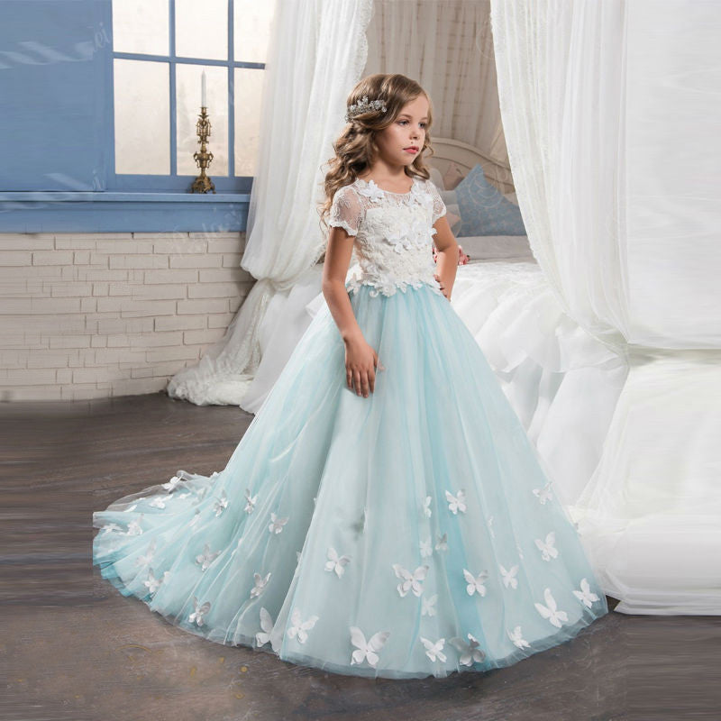 Pretty Flower Girl Dresses With Butterfly Lace Short Sleeve Ball Gown