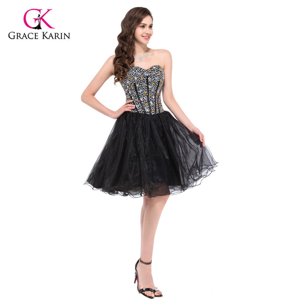 381a134db240 Prom Dresses 2017 Grace Karin Black Ball Gown Sweetheart Crystals Beaded  Short Party Gowns Masquerade Dresses