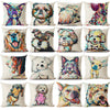 Pug Pop Dog Cushion Cover Decorative Throw Pillows Colorul French BullDog Watercolor Pattern Cotton Linen Cushion Bull Terrier