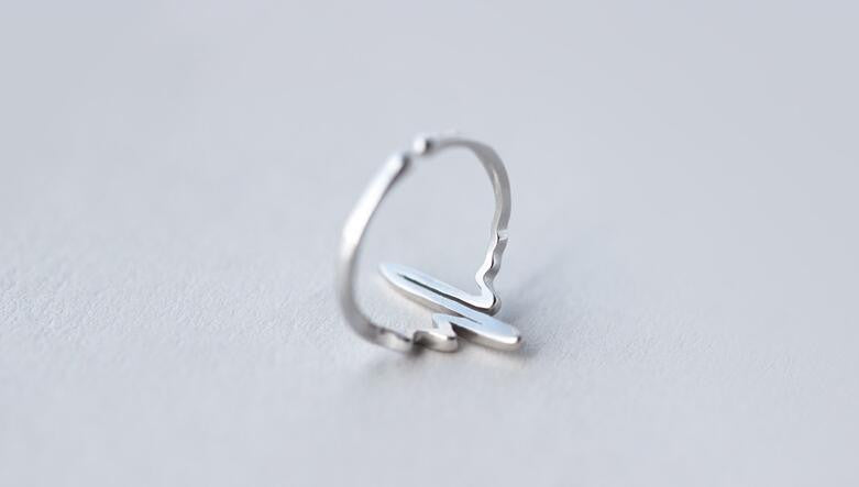 REAL. 925 Sterling SIlver Jewelry Heartbeat Lifeline Pulse Ring Adjustable size for lover's gift drop ship GTLJ786