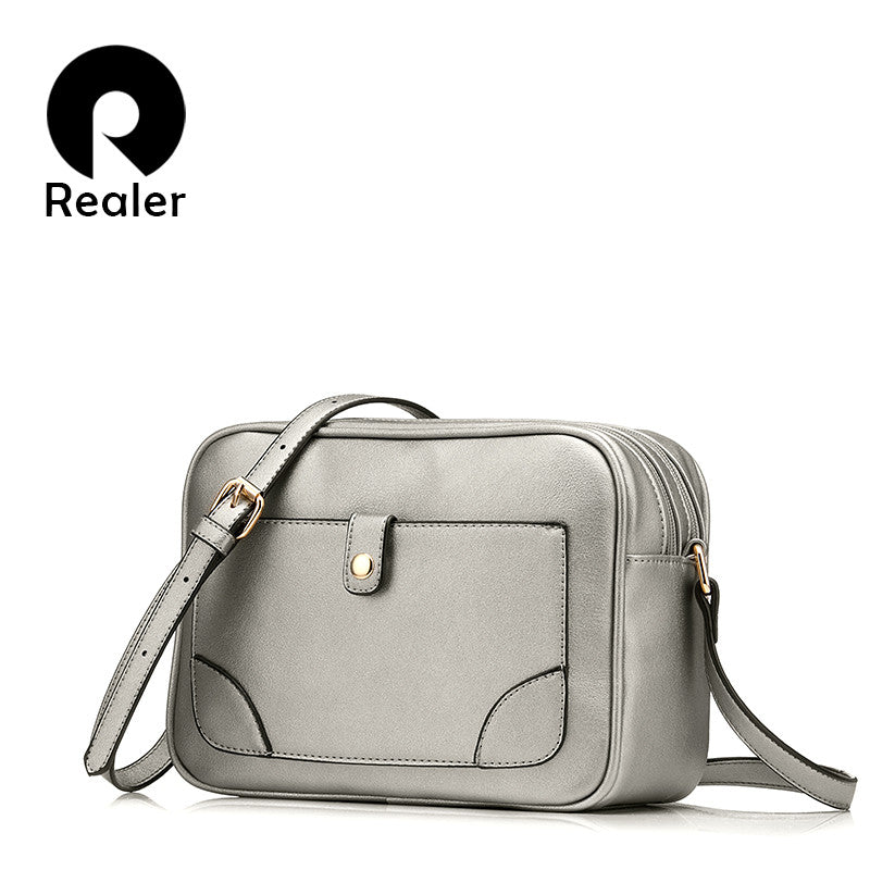 REALER brand women casual shoulder bag small crossbody bags female flap handbag high quality messenger bag silver/brown/black