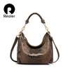 REALER brand women genuine leather bags female serpentine pattern shoulder bag  high quality ladies handbag with tassel