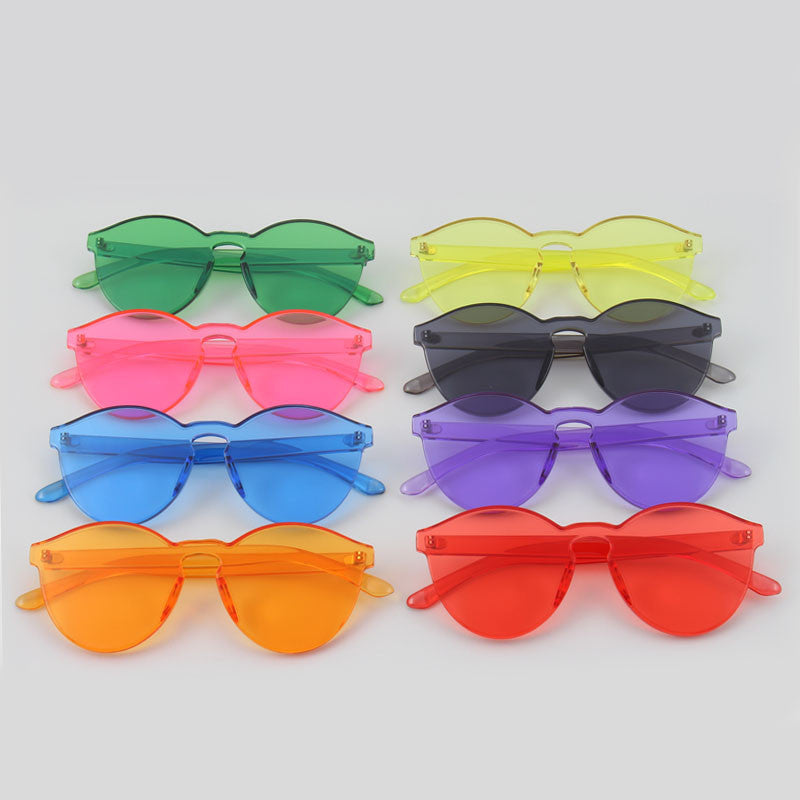 e7424f9636 RSSELDN New One Piece Lens Sunglasses Women Transparent Plastic Glasses Men  Style Sun Glasses Clear Candy