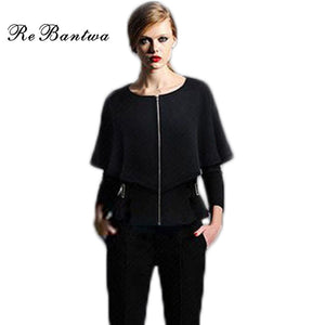 Rebantwa New Shawl Blazer Women Cotton Bat Half Sleeves Autumn Jackets Causal Suit Blazers Short Women Outwear Lady Cape Coats